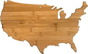 Totally Bamboo United States of America Shaped Bamboo Serving and Cutting Board