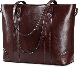 S-ZONE Damen Schultertasche 15,6 Inch Laptoptasche Große Leder Shopper Arbeitstasche Umhängetasche Handtasche mit Gepolste...