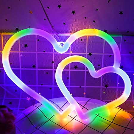 Ifreelife Double Heart Neon Sign, Battery Operated or USB Powered LED Neon Light for Party, Home Decoration Lamp, Table & Wall Decoration Light, Valentine's Day Gift,and Kids Gift (D-Colorful)