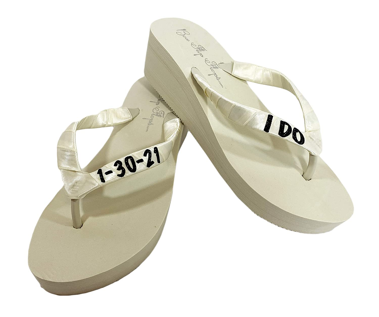New Orleans Mall Glitter I DO and Wedding Date White All stores are sold Flip Ivory Black Flops