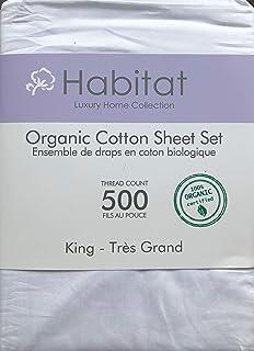 Habitat Organic Cotton Solid White 4pc King Sheet Set Luxury Fine Linens 500 Thread Count
