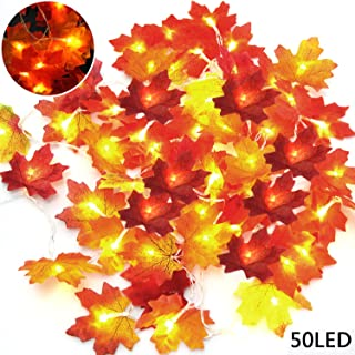 LOCOLO 2 Pieces Thanksgiving Decorations Lighted Fall Garland, 20 LED Red Fall Lights (9.8Ft), 30 LED Multicolor Maple Leaf String Lights (9.8Ft), Fall Decorations String Lights
