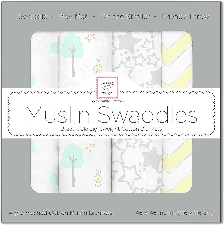 SwaddleDesigns Cotton Muslin Swaddle Blankets, Set of 4, SeaCrystal Woodland Fun