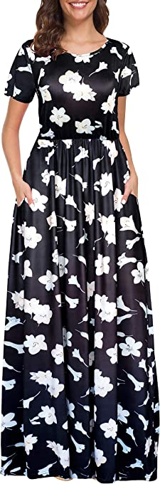 Afibi Women Floral Print Crew Neck Short Sleeve Maxi Dress with Pockets