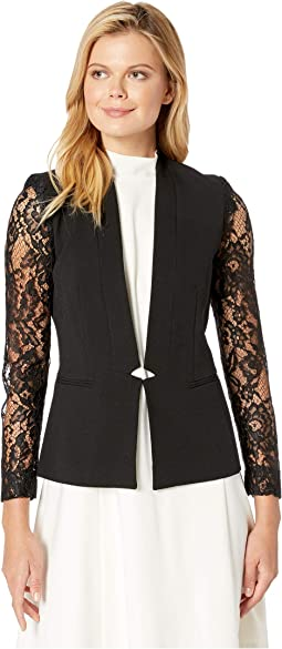 Crepe Long Sleeve Lace Jacket