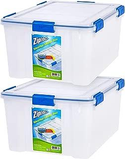 Ziploc WeatherShield 60 Quart Storage Box, 2 Pack, Clear
