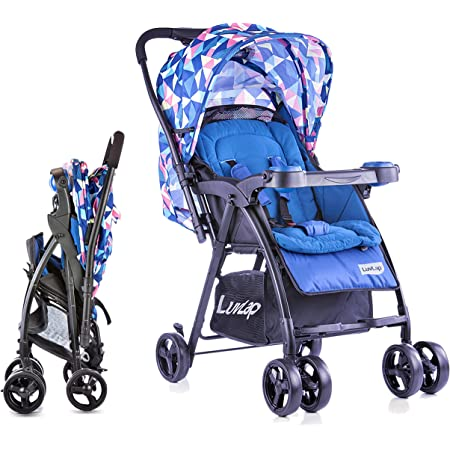 LuvLap Joy Stroller/Pram, Compact and Easy Fold, for Newborn Baby/Kids, 0-3 Years (Printed Blue)