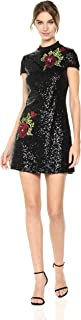 Women's All Over Sequin T Shirt Dress with Rose Applique