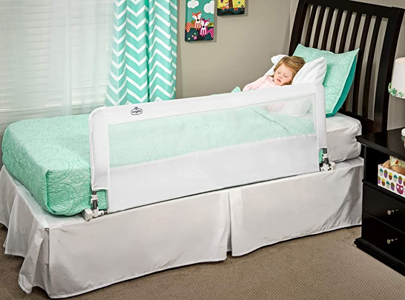 Regalo Hideaway 54 Inch Extra Long Bed Rail Guard With Reinforced Anchor Safety System