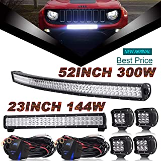 4Inch Pods Cube Driving Lights For Truck Jeep GMC ATV Chevy Polaris Dodge Ford Tractor W//Rocker Switch Wiring Harness Led Light Bar,QUAKEWORLD DOT 44Inch Led Light Bar Offroad Spot Flood Combo Beam