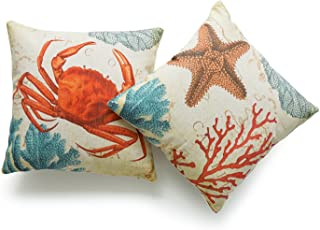 "Hofdeco Decorative Throw Pillow Cover Heavy Weight Cotton Linen Vintage Caribbean Sea Life Starfish Crab Coral 18""x18"" 45c..."