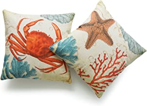 Hofdeco Decorative Throw Pillow Cover HEAVY WEIGHT Cotton Linen Vintage Caribbean Sea Life Starfish Crab Coral 18x18 45cm x 45cm Set of 2