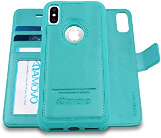 AMOVO Case for iPhone Xs/iPhone X (5.8'') [2 in 1] iPhone Xs Wallet Case [Detachable Folio] [Vegan Leather] [Wrist Strap] iPhone X Flip Case with Gift Box Package (X/XS (5.8'') Aqua)