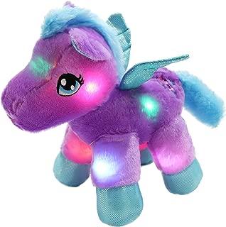 Bstaofy WEWILL LED Pegasus Stuffed Animal Glow Unicorn Soft Toys, Nightlight Companion Gifts, 11'', Purple