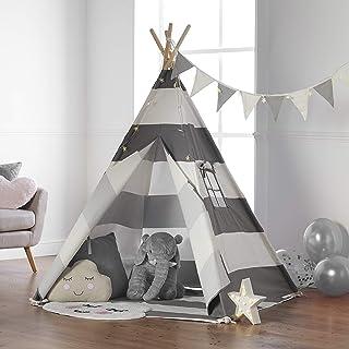 Haus Projekt TeePee för barn med ljusslingor, flaggväv och vattentät bas 160 cm Tipi tält (grå)