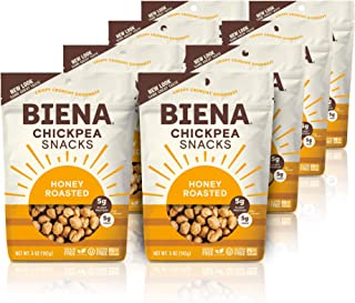 BIENA Chickpea Snacks, Honey Roasted | Gluten Free | Dairy Free | Vegetarian | Plant-Based Protein (8 Pack)