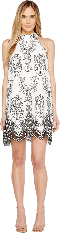 Embroidered Linen Trapeze Dress