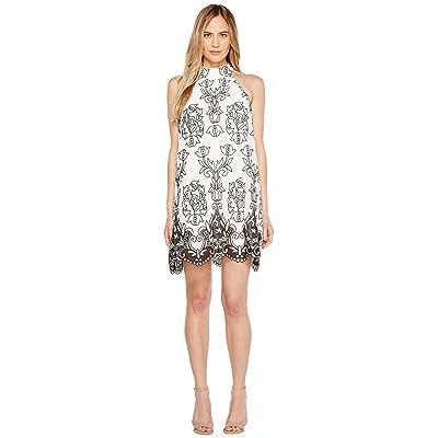 Badgley Mischka Embroidered Linen Trapeze Dress (White/Black) Women