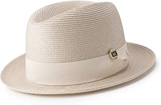 26de0e4119d1e MONTIQUE Braided Straw Flat Brim Center Crease Fedora Hat with Matching  Grosgrain Band H-57