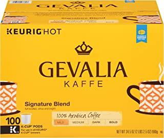 GEVALIA Signature Blend Keurig K-Cup Coffee Pods (100 Count) | 100% Arabica Beans | Mild & Medium Bodied Coffee with Citrus and Bright Notes | Convenient & Delicious Single Serve Pods