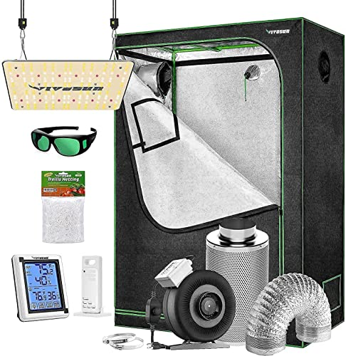 discount VIVOSUN 4x2 ft. Grow Tent Complete Kit with VS1000 Led Grow Light, Ventilation System with 4 online sale Inch Inline Fan Combo, Thermometer Humidity wholesale Monitor, Trellis Netting outlet online sale