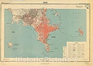 Historic Pictoric Map : Dakar, Senegal 1947, Afrique Occidentale Française-Senegal, Carte au 10.000e. de la presqu'ile du Cap Vert Dakar, Antique Vintage Reproduction : 62in x 44in