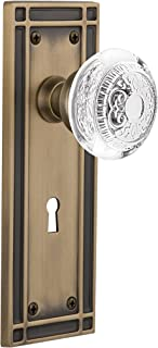"""(antiquebrass, 2-3/8"""") - Nostalgic Warehouse Egg and Dart Privacy Door Knob with Mission Plate"""