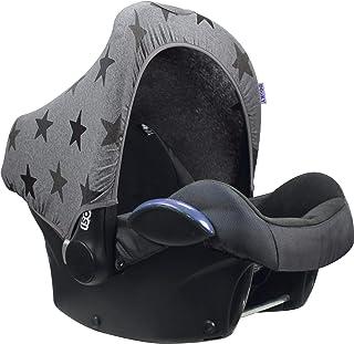 Original Dooky Hoody solskydd solskydd för barnstolar eller barnvagn (design: Grå stjärnor, inkl. UV-skydd 40+, åldersgrup...