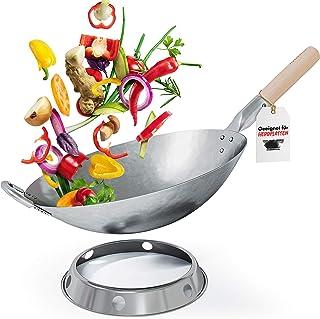 Flavemotion Wok + anneau wok pour induction, cuisinière électrique (fond plat, 36 cm) Wok martelé à la main en acier au ca...