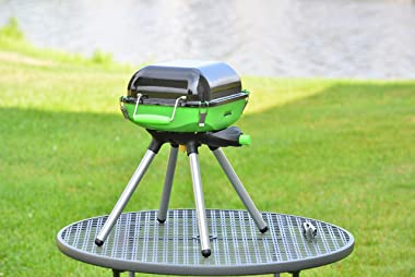 Flame King YSNVT-301 Multi-Function Portable Propane BBQ Grill Camp Stove, 8000 BTU 9.5 x 12 Inch Cooking Surface, Light Gree