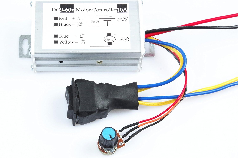 KNACRO DC 12V 24V 36V 48V 60V 9-60V Motor Controller 10A PWM DC Motor Speed Controller Motor Switch Reversible Switching Module Maximum Power 600W