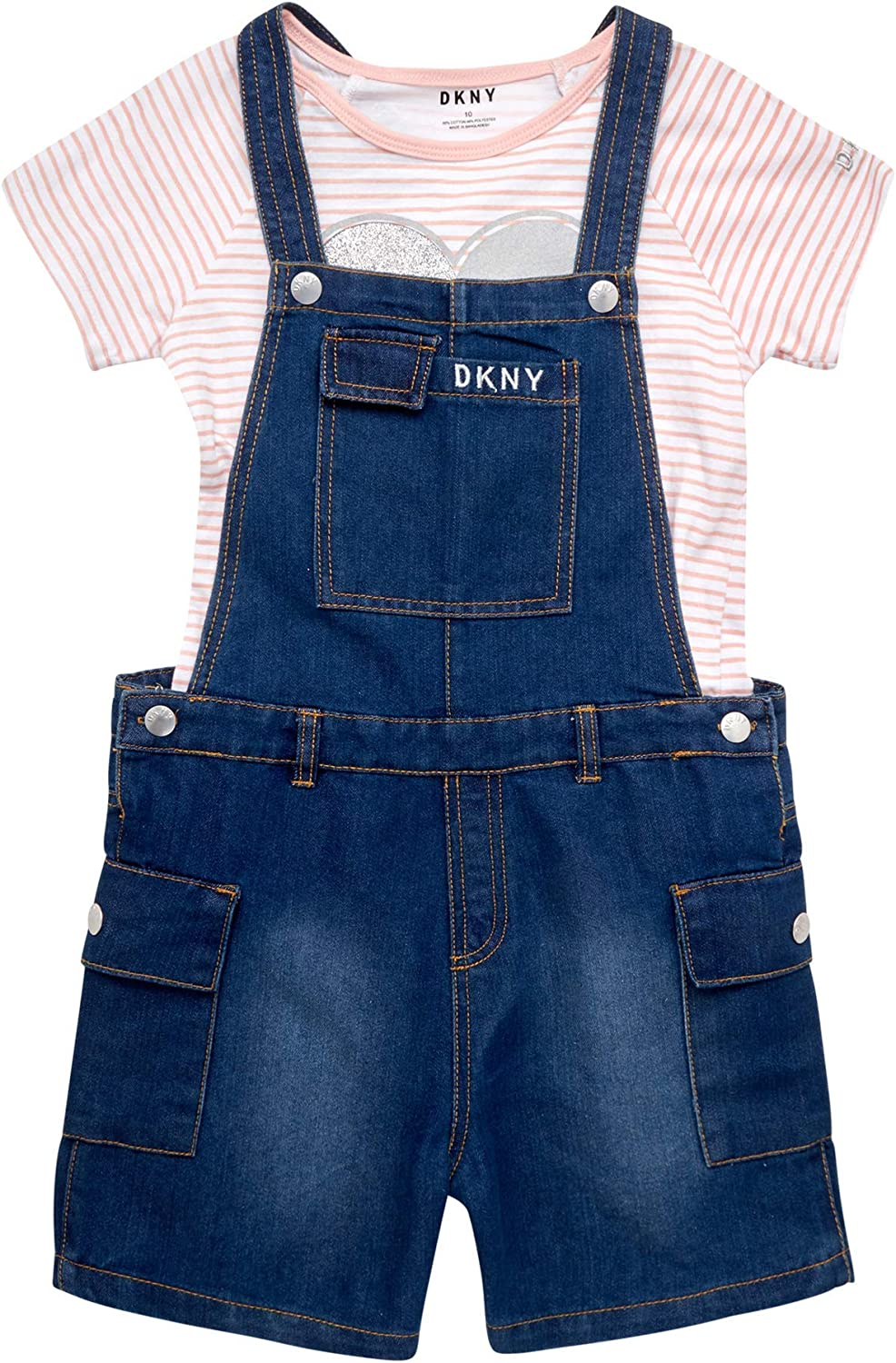 DKNY Girls' Overalls Set - Stretch Denim Shortalls Cheap Clearance SALE! Limited time! super special price Sl Short with