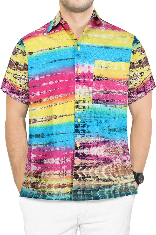 LA LEELA Men's Many popular brands Vintage Fashion Short Shirt OFFer Hawaiian Sleeve A