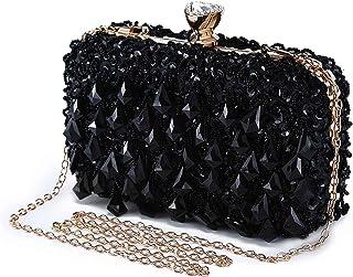 Abendtasche Damen Diamant Clutch Bag Kette Shiny Strass Handtasche Umhängetasche für Hochzeit Party - Schwarz(Dreieck Diam...