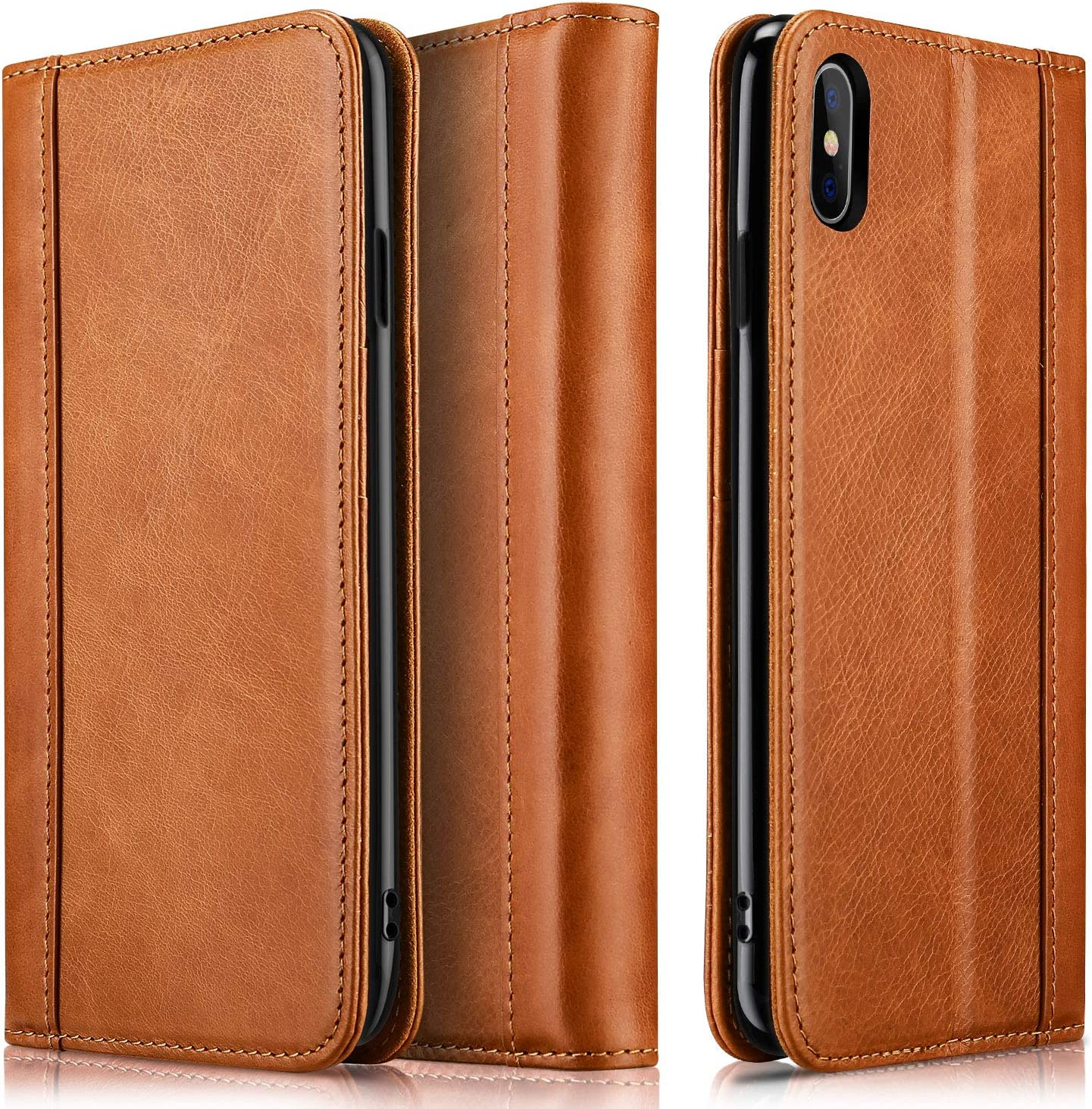 ProCase iPhone Xs Max Wallet Case, Genuine Leather Flip Cover Case with Kickstand Credit Card Holder and Magnetic Closure for iPhone Xs Max 6.5 Inch 2018 Release –Brown