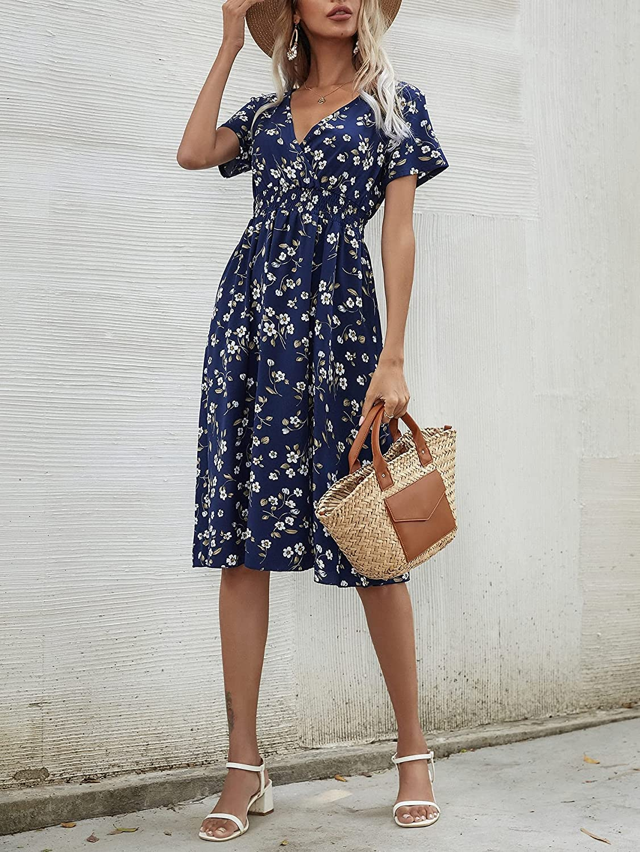 Milumia Women's Floral Print Shirred High Waist V Neck Short Sleeve A Line Midi Dress