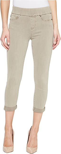 Liverpool - Sienna Pull-On Rolled-Cuff Capris in Pigment Dyed Slub Stretch Twill in Pure Cashmere