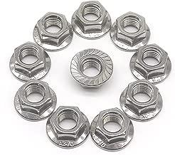 M10 x 1.5mm Flange Nuts, binifiMux Diameter 10Pcs Serrated Hex Flange Lock Nuts 304 Stainless Steel