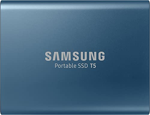 Samsung T5 500GB Up to 540MB/s USB 3.1 Gen 2 (10Gbps, Type-C) External Solid State Drive (Portable SSD) Alluring Blue...