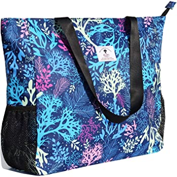 LARGE BEACH BAG Water Resistant Lightweight 20 inch Women Oversize Tote Bag for Gym Beach Travel Pool Yoga Nurse