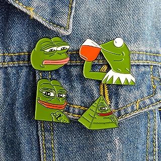 yangerous 2019 New 4PCS Always Sad Frog Pepe Brooches Feel Good Man Badges Pop Culture Frog Jewelry