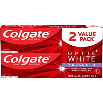 Colgate Optic White Advanced Teeth Whitening Toothpaste with Fluoride, 2% Hydrogen Peroxide, Sparkling White - 4.5 ounce (2 Pack)