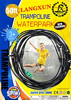 LANGXUN Trampoline Water Sprinkler Play for Kids, Summer Outdoor Water Game Toys for Toddlers, 50FT 14 Nozzles Misting Cooling System for Swimming Pool Patio Garden Lawn Greenhouse Irrigation Sprinkle