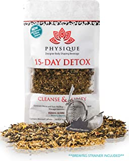 15 Day Natural Weight Loss Detox Tea   Bloating Relief Total Tea for Best Appetite Suppressant Cleanse & Teatox   Fitness Slimming   No Laxative Senna or Pills   Free Diet Included   BONUS STRAINER