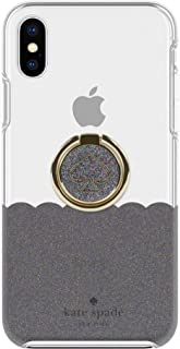 Kate Spade New York Gift Set Bundle   for Apple iPhone X and 2018 iPhone Xs   Protective Phone Case [Scalloped (Black Multi Glitter/Clear)] and Stability Ring Stand [Spade Black Multi Glitter Enamel]