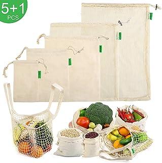 NEWSTYLE Bolsas Reutilizables Compra Algodon Ecológicas Bolsas de Fruta Reutilizables para Frutas Verduras Juguete y Granos (Beige 6pcs)