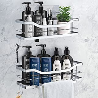 Homemaxs Shower Caddy, [2021 Newest] Shower Shelf with Tower Hanger & 4 Hooks, 304 Stainless Steel Strong Adhesive Shower ...