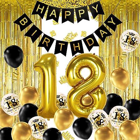 iZoeL 18 ans déco anniversaire Or noir, bannière joyeux anniversaire, ballon hélium chiffres 18 XXL, Rideau à Franges Or noir confettis latex numéro tableau deco confettis fille femmes