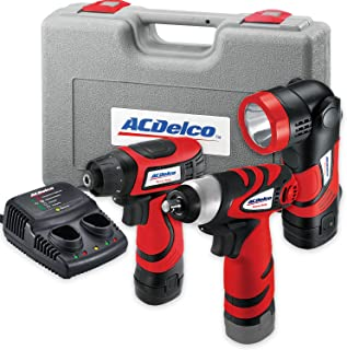 AcDelco ARD847Li Cordless 8V Li-ion Drill/Driver Impact Wrench Set Combo Kit with Case,..