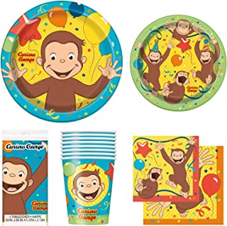 Unique Curious George Party Bundle | Luncheon & Beverage Napkins, Dinner & Dessert Plates, Table Cover, Cups | Great for Animated/Cartoon Birthday Themed Parties